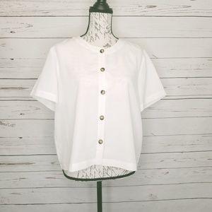 ORVIS White Short Sleeve Button Down Blouse L